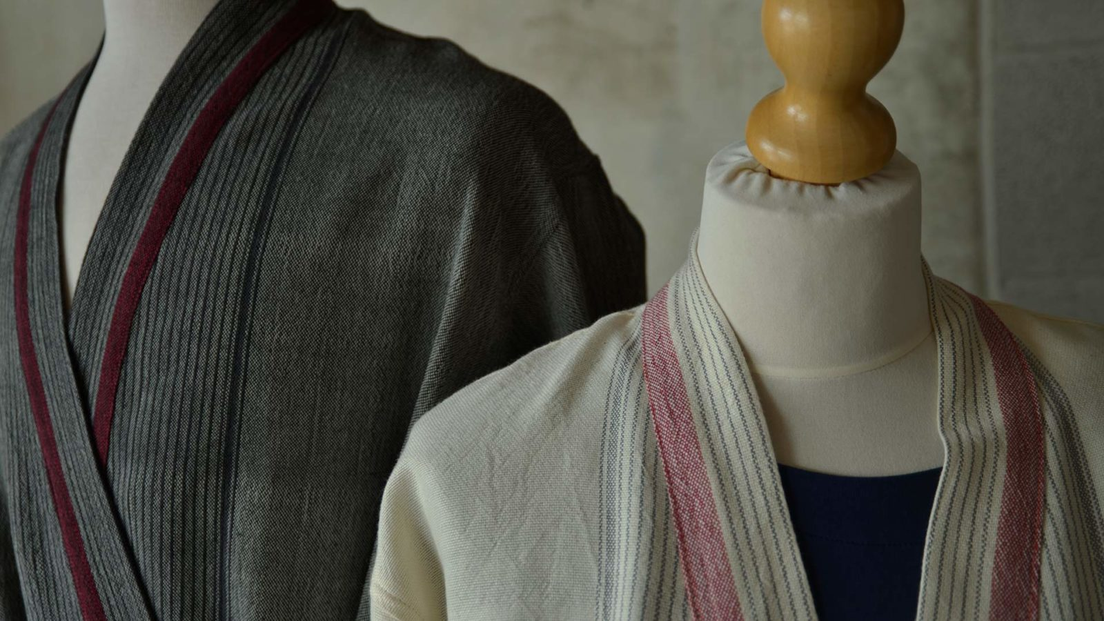 his and hers soft cotton dressing gowns in grey and ivory a closer view