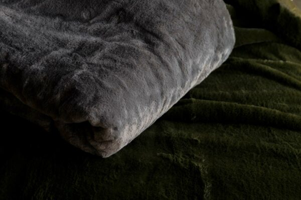 softest luxury faux fur throw in charcoal grey and olive green