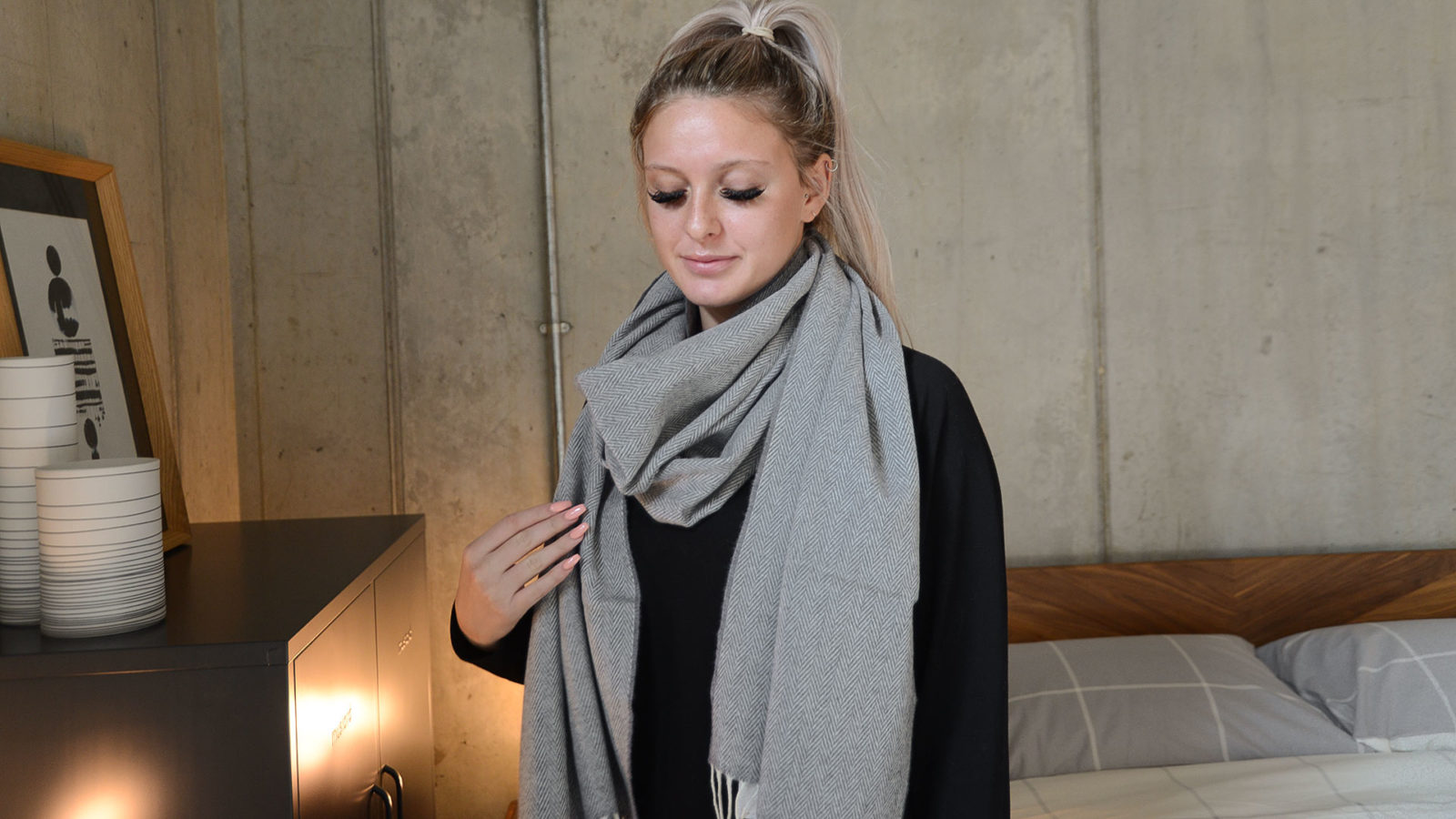 Grey Herringbone Cashmere & Merino Wrap