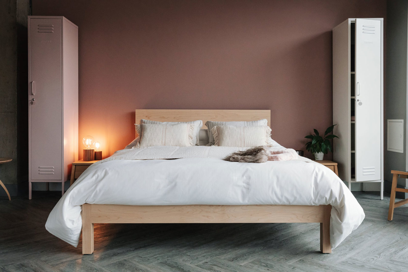 Andas throw and cushions on the Malabar contemporary wooden bed shown in Maple