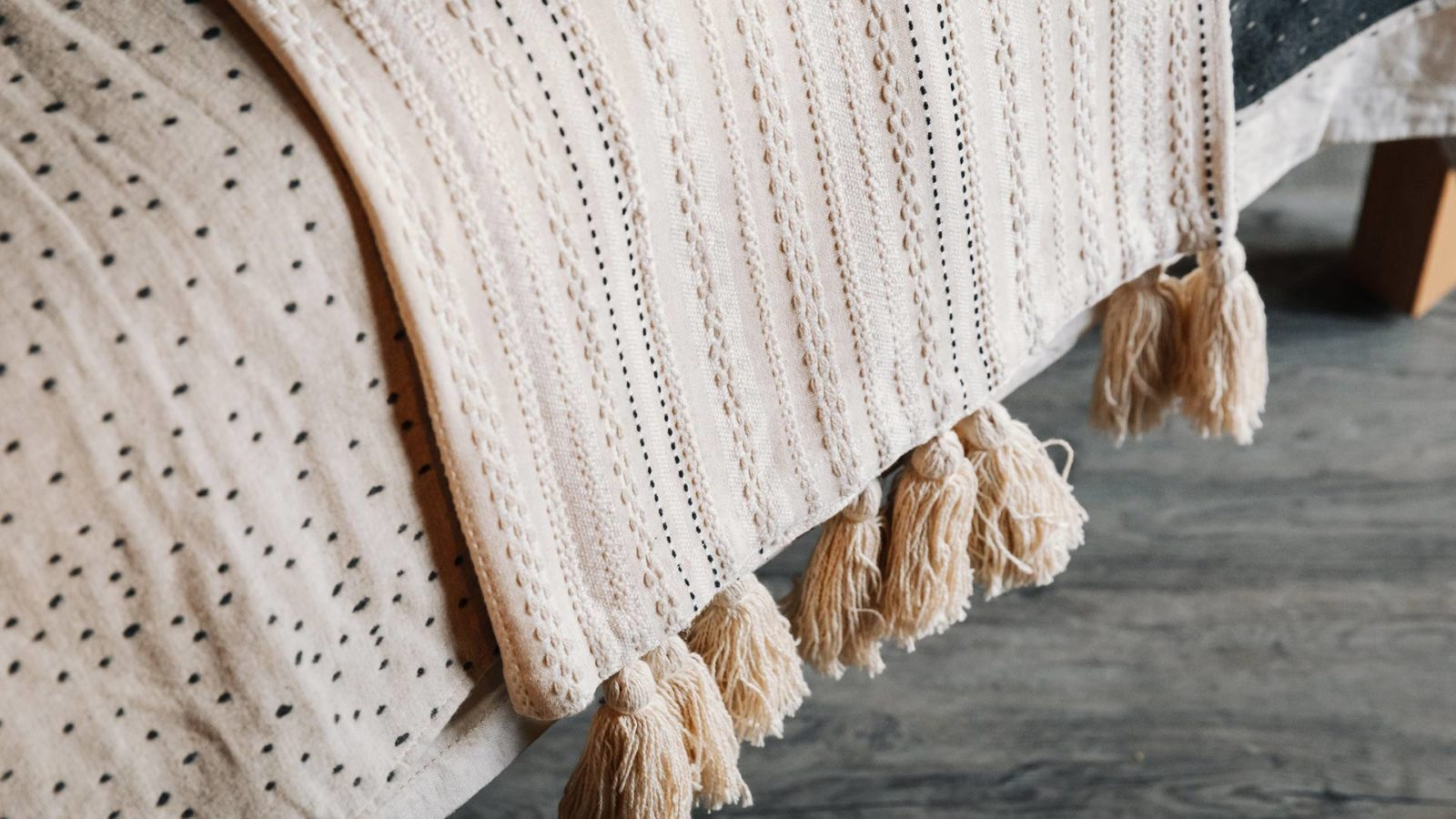 ivory embroidered throw