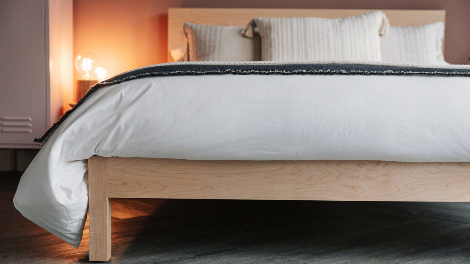 Modern solid wood bed - Maple Malabar, a closer view of the foot end