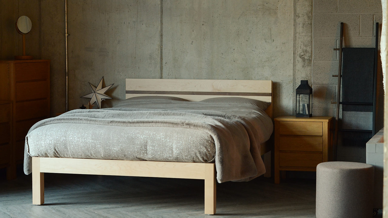 Tibet modern solid wood bed made from maple with a walnut headboard stripe