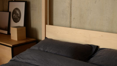 a closer view of the Maple Orchid 4 poster bed headboard