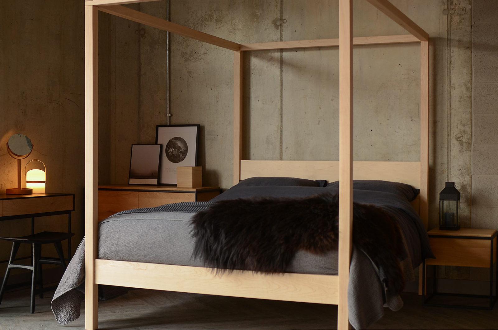 Hand made in Sheffield this is our Orchid Wooden 4 poster bed made from Maple