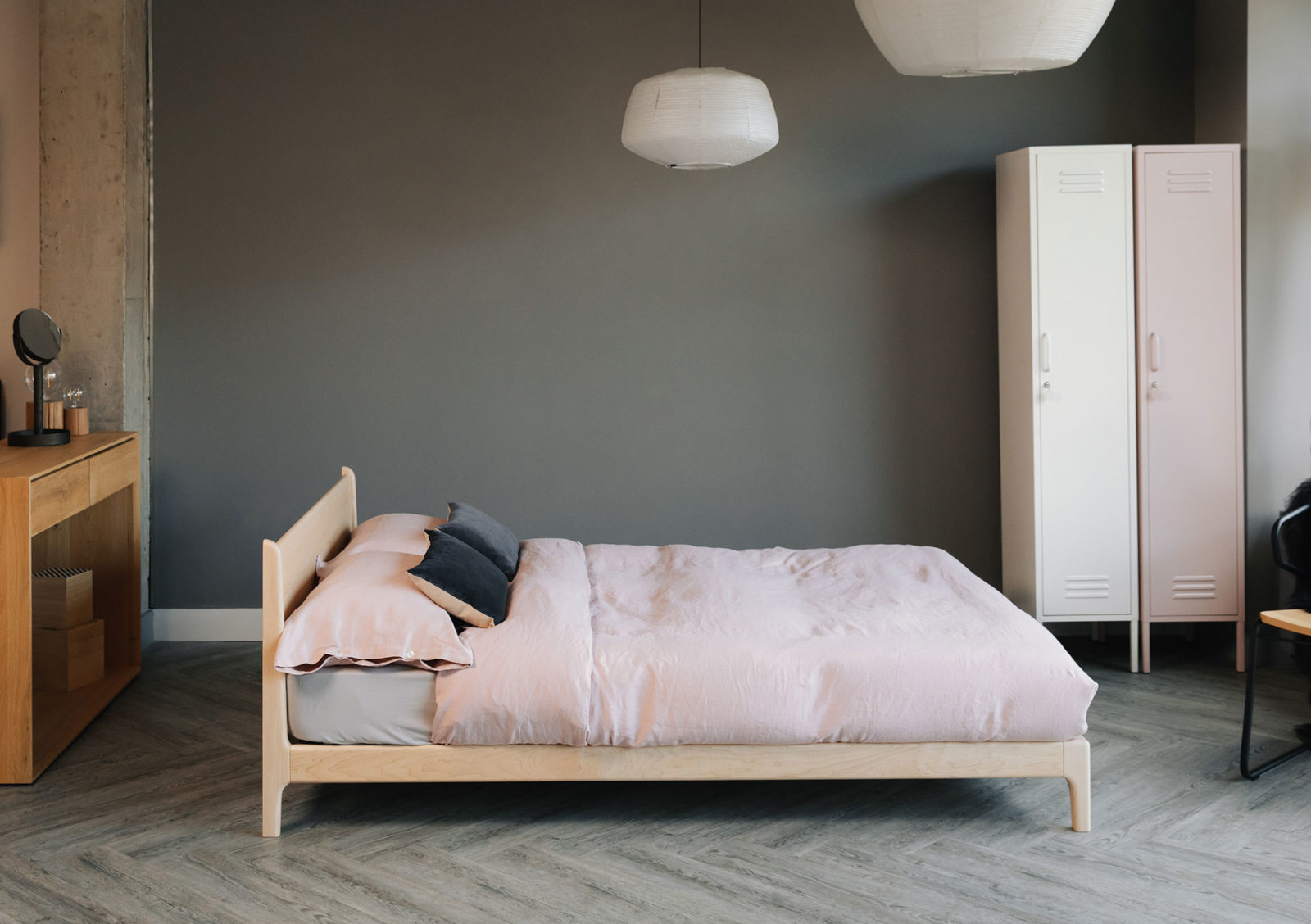 Low solid wooden hand crafted Pimlico bed in Maple