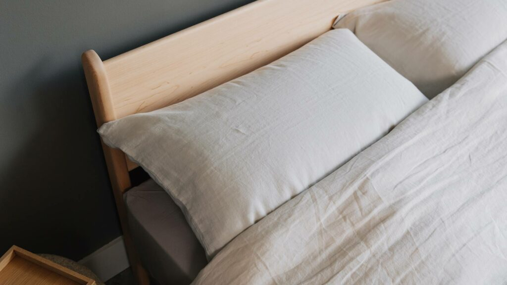 Detail shot of the pimlico low contemporary bed base headboard