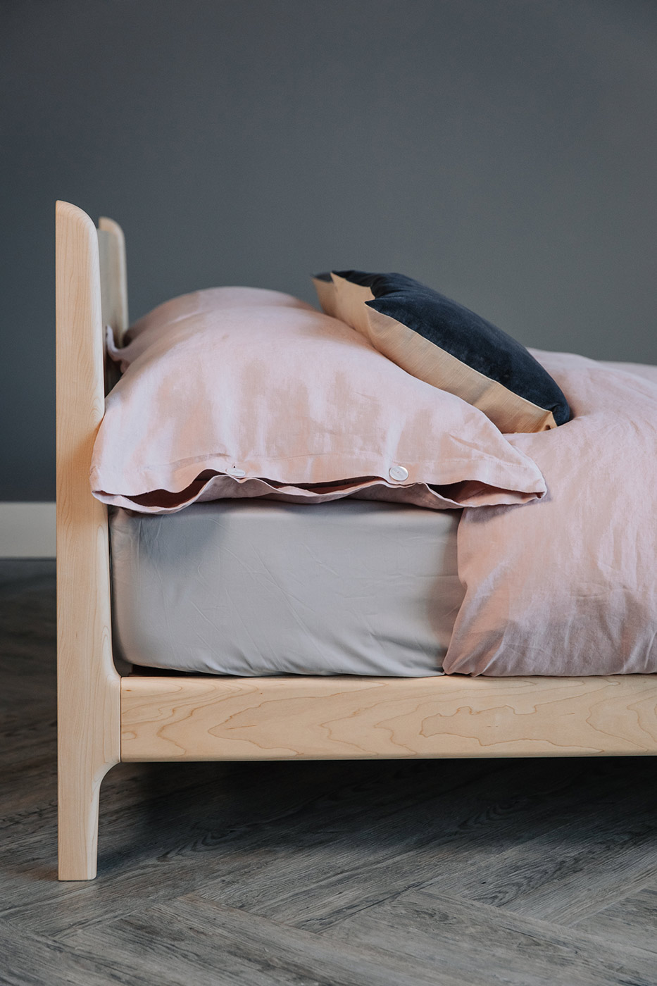 low modern Pimlico bed in Maple side view