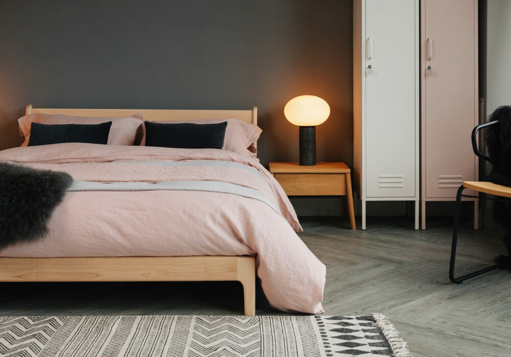 Nordic bedroom style with pale maple low Pimlico bed