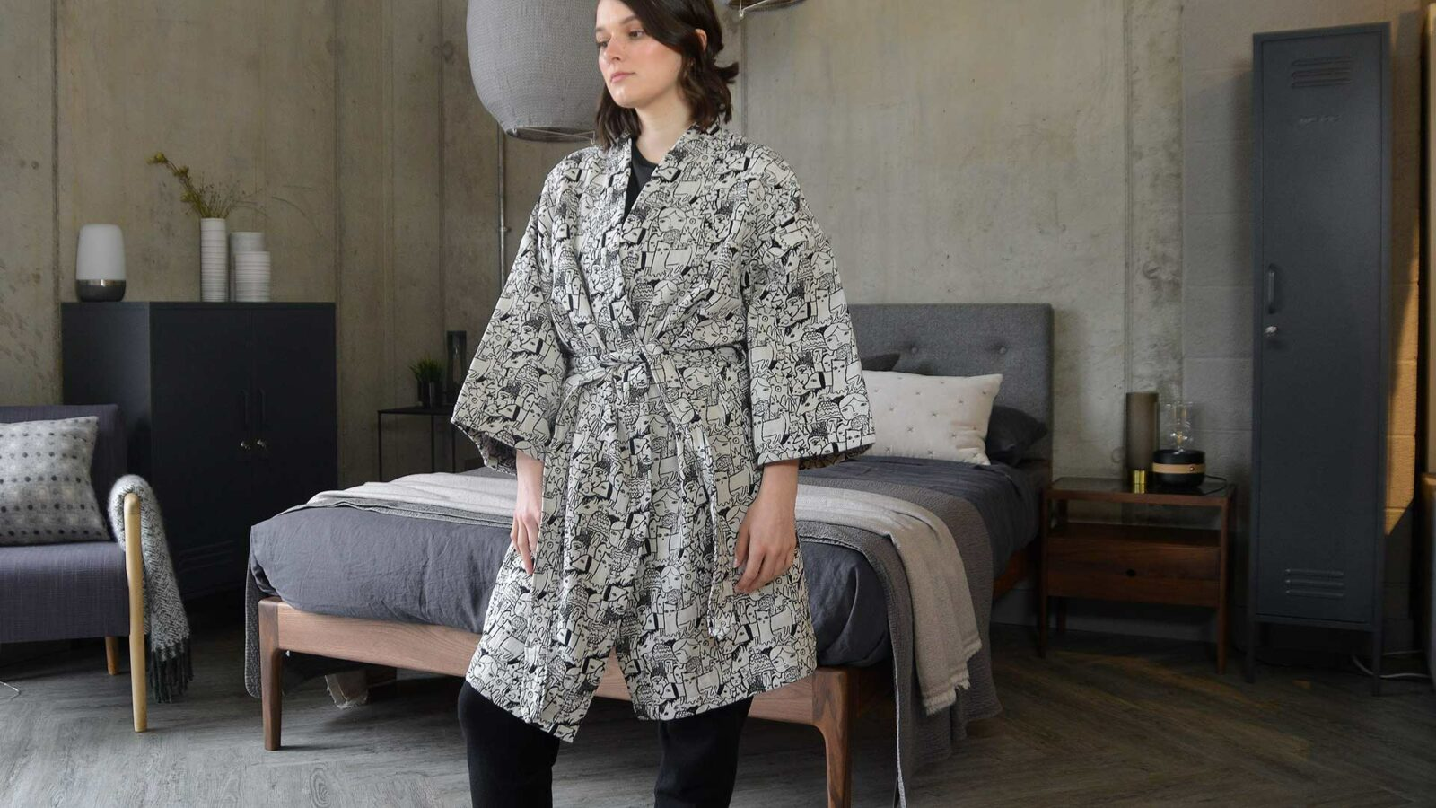 Donna Wilson black and white woven menagerie design short robe