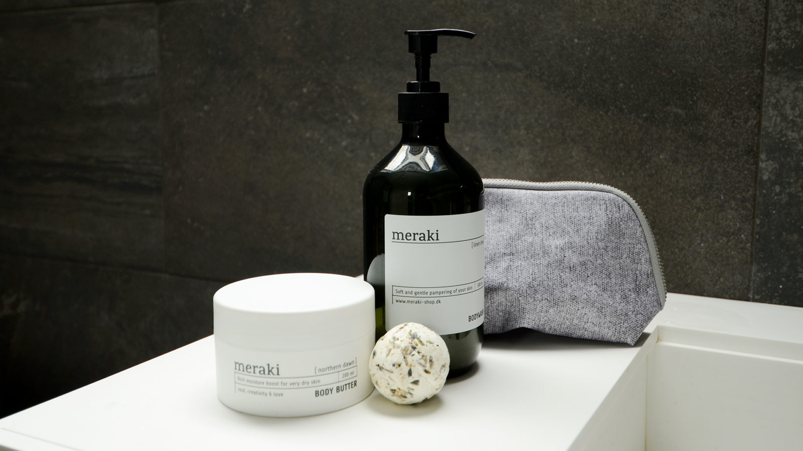 meraki body wash, body butter and bath melt