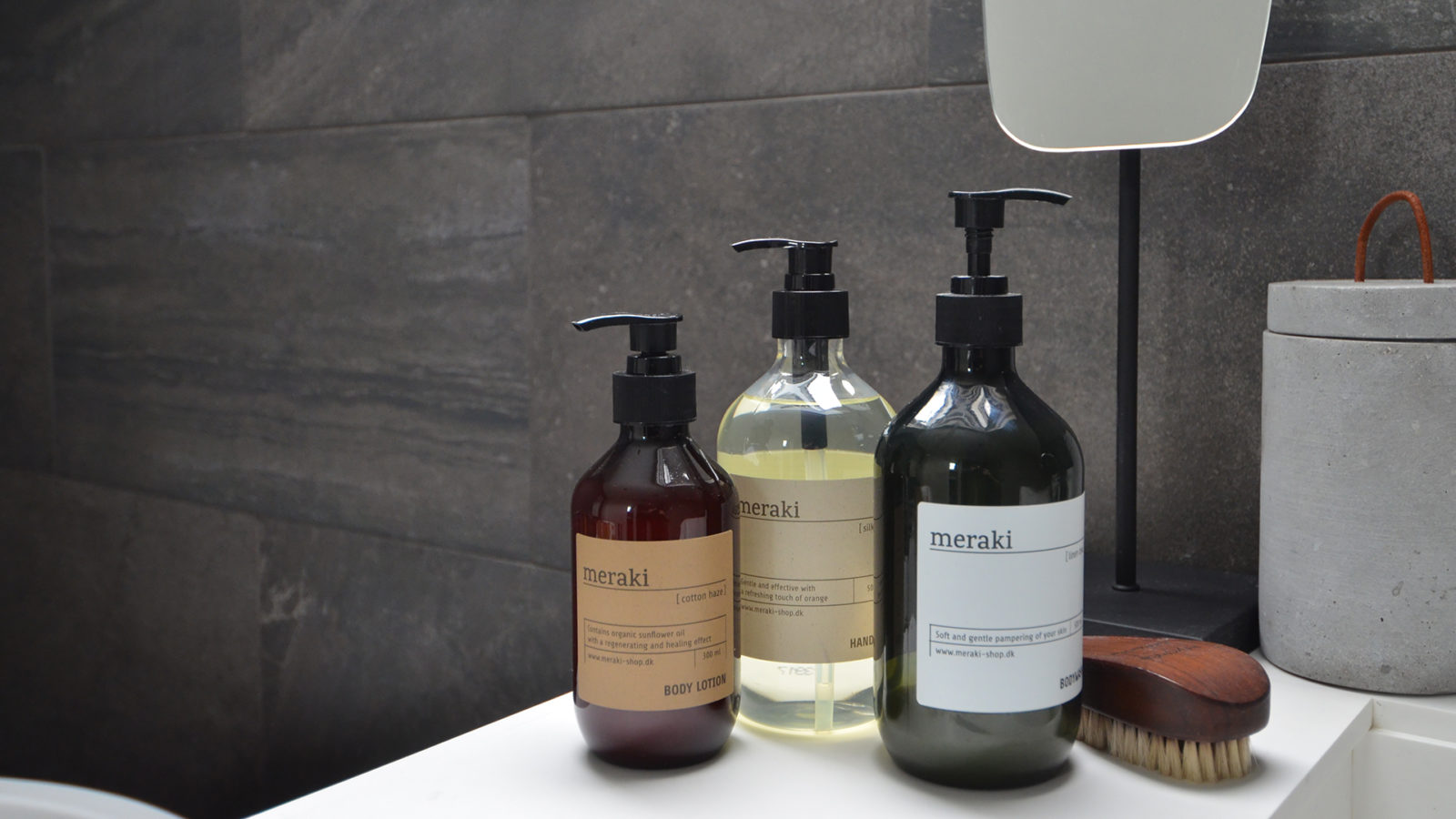 meraki body wash, lotion and liquid soap