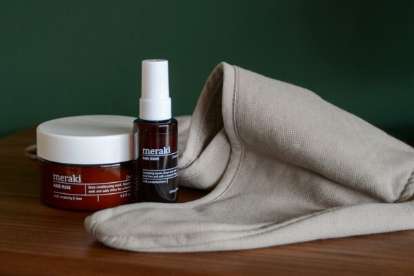 meraki Hair care gift set including hair treatments and drying towel
