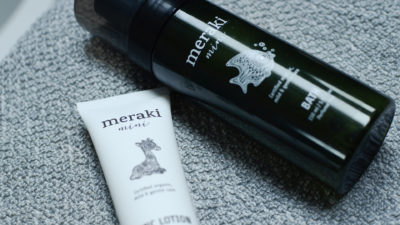 meraki organic bath and lotion closeup