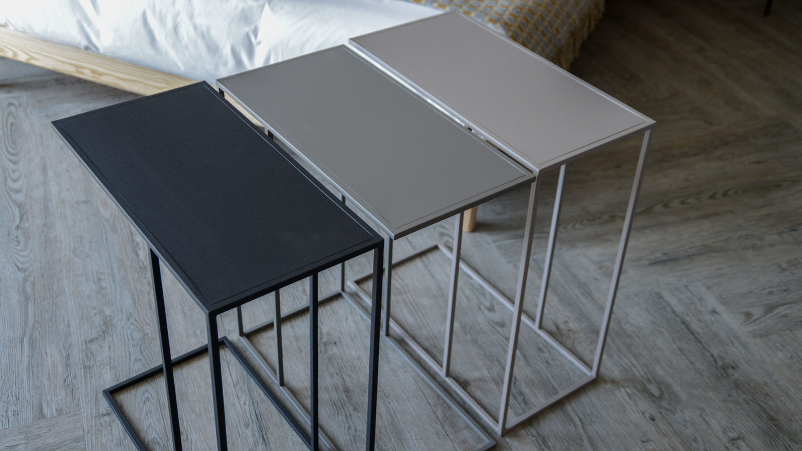 powder coated metal bedside tables in 3 colour options