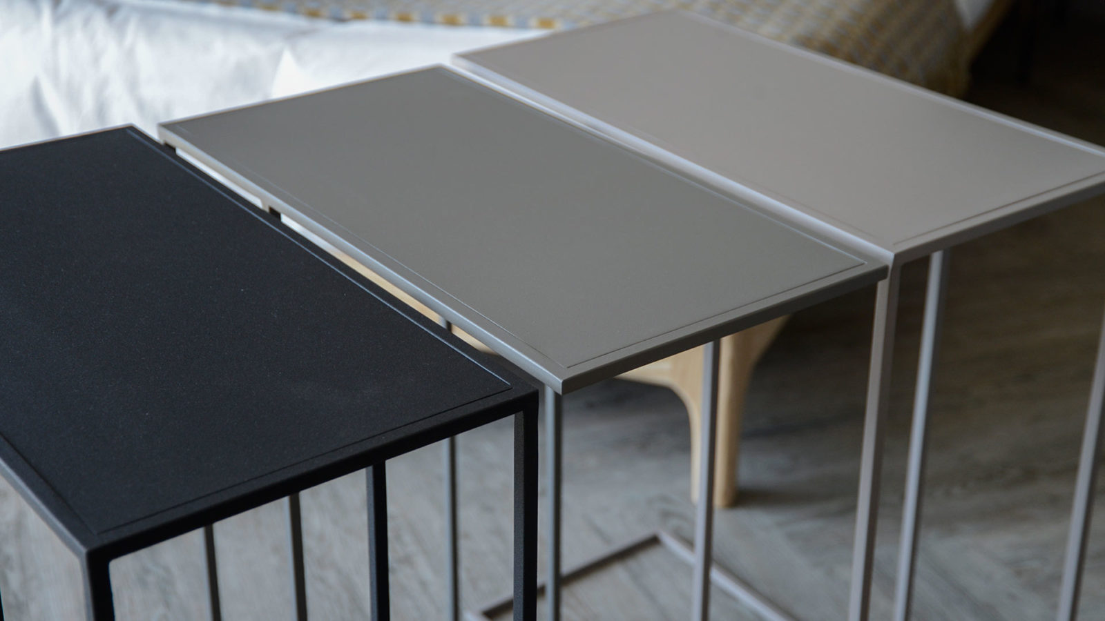 metal, powder coated side tables in 3 colour options