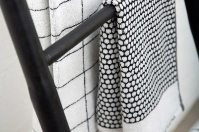 Modern Black and White Towels by Mette Ditmer