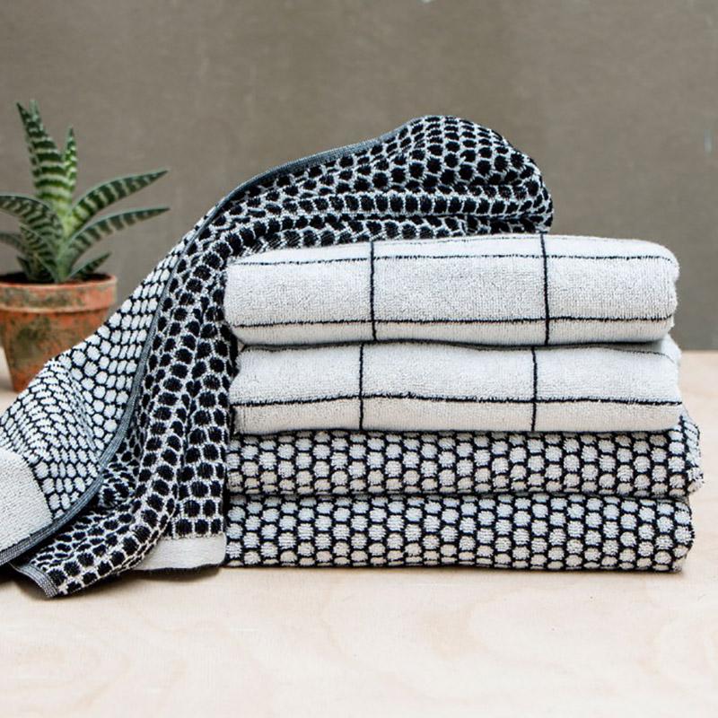 Mette Ditmer Black & White Towels - Grid Pattern