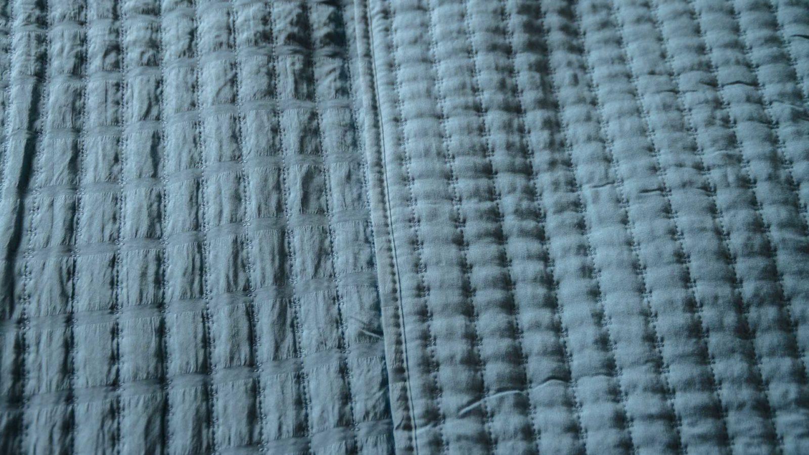 blue quilt pattern detail