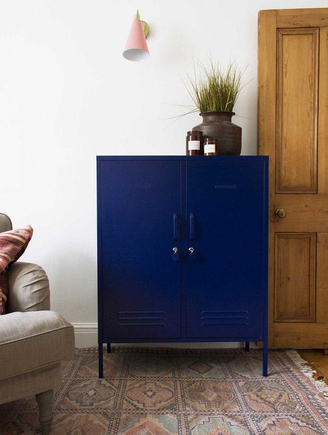 Midi storage cupboard - locker in navy blue