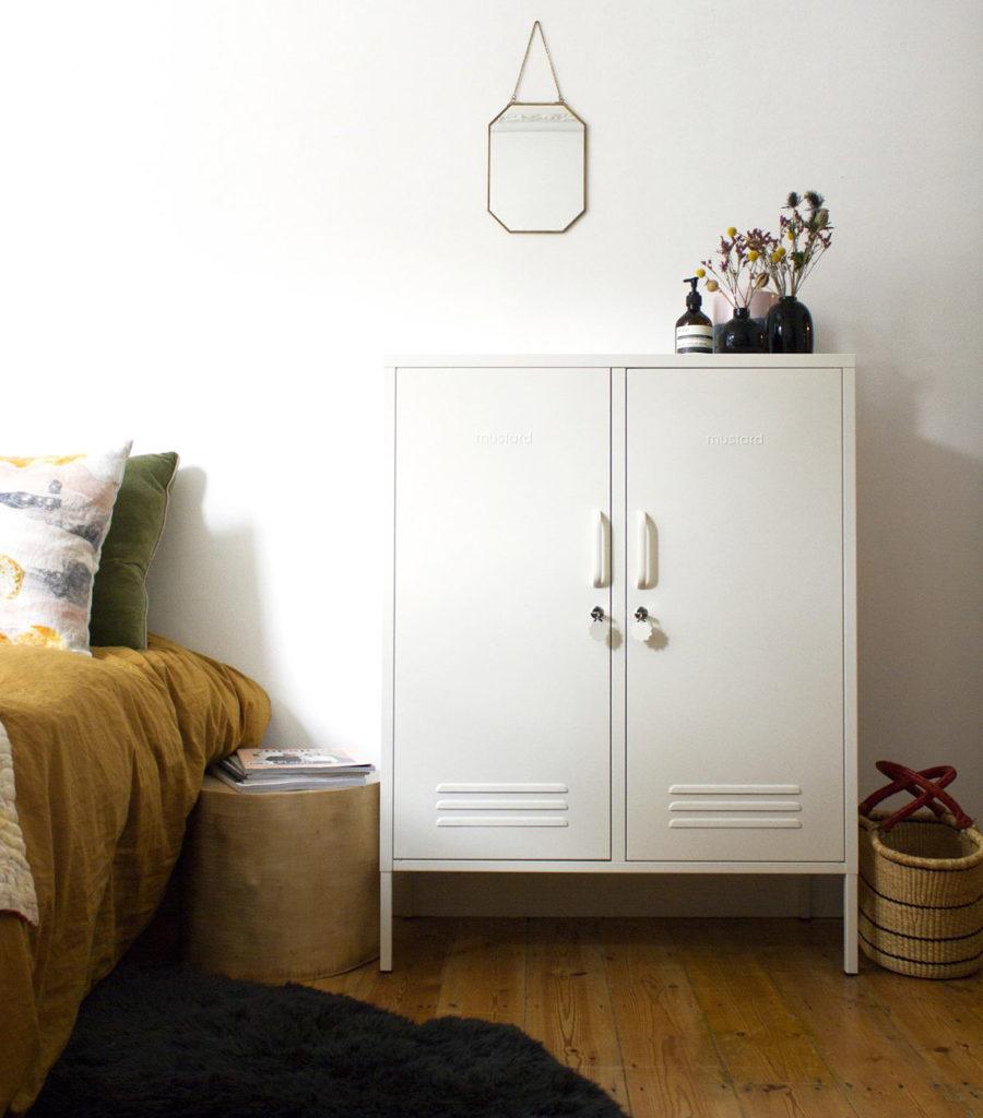 Midi Locker in White - large storage cupboard