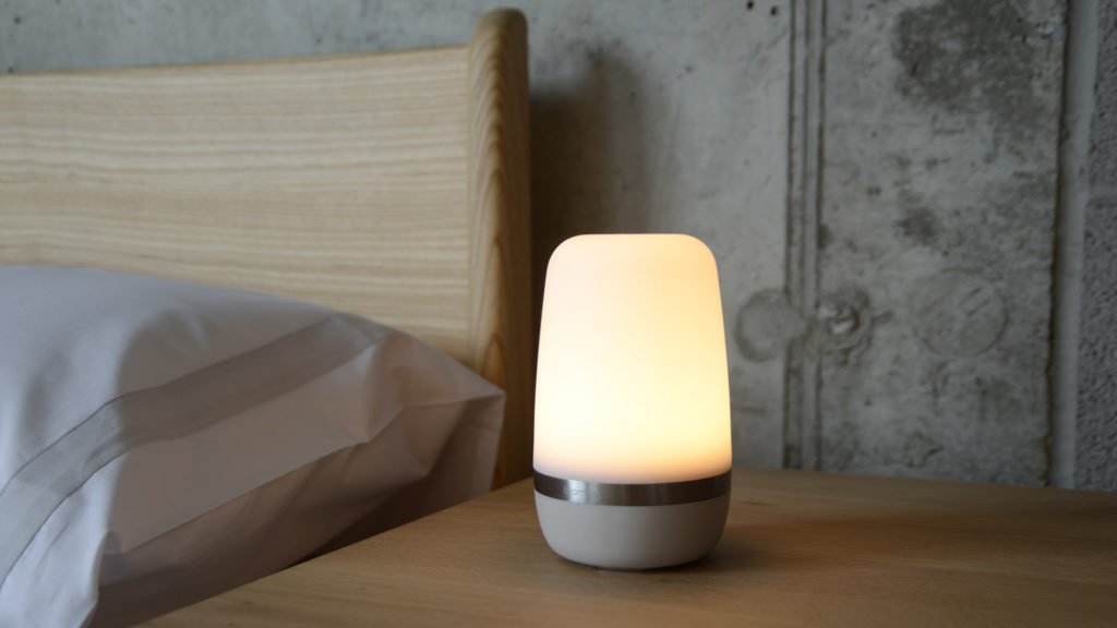 chargeable LED lamp shown lit