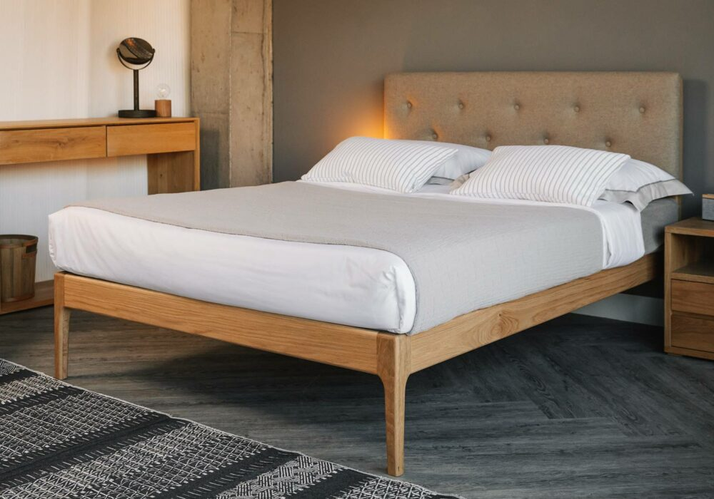 Skandi style bedroom with solid Oak hand-made Bloomsbury bed