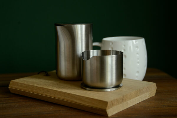 modern stainless steel sugar bowl and creamer jug with lids