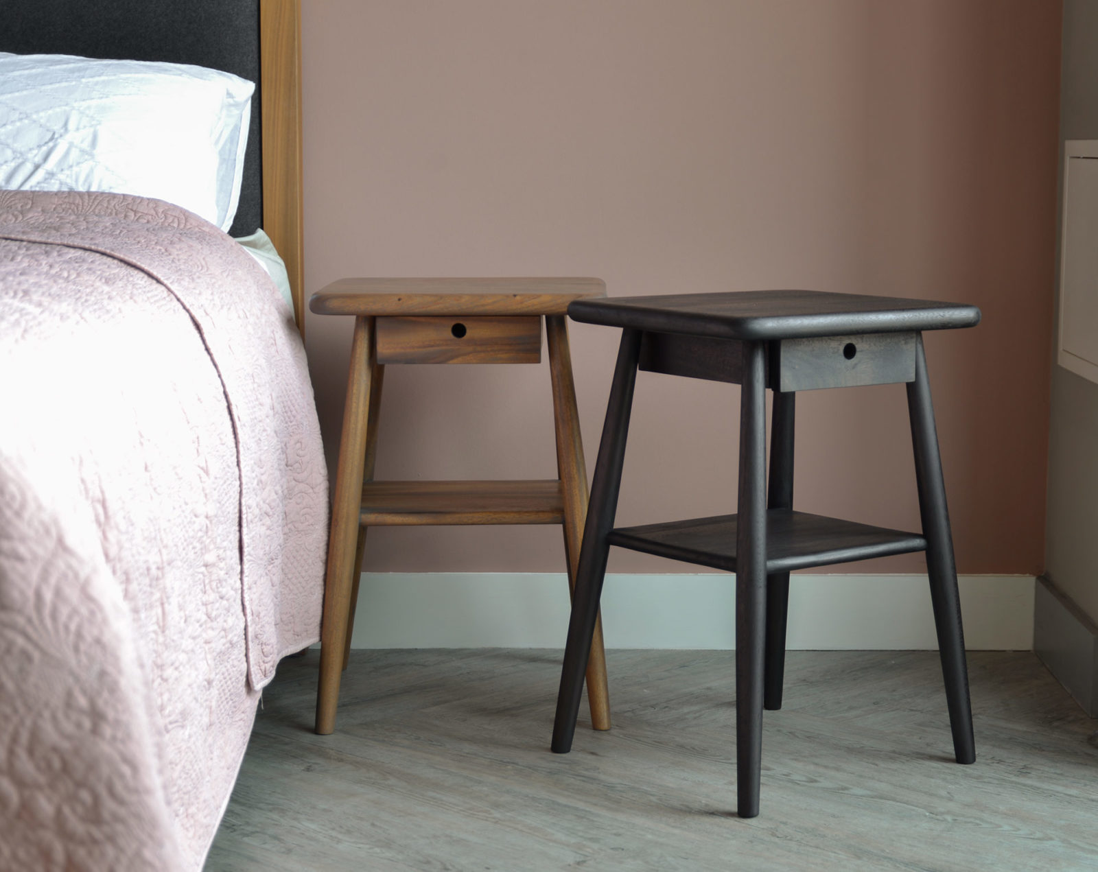 Meh Wood Bedside Tables - mid century look