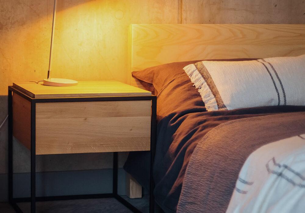 Monolit Bedside Table - oak with a black metal frame