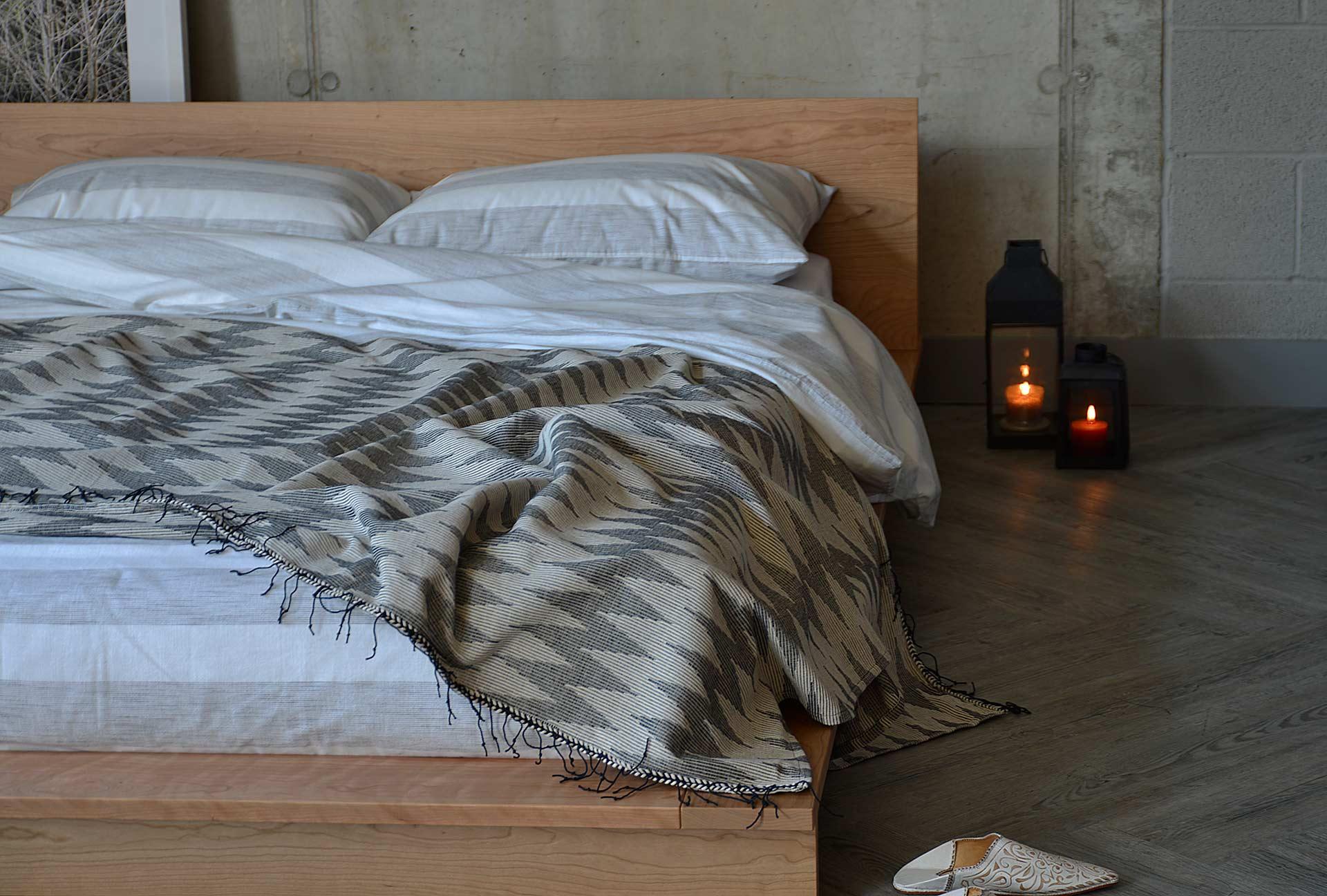 Modern Moroccan bedroom look with Oregon low wooden platform bed in solid Cherry