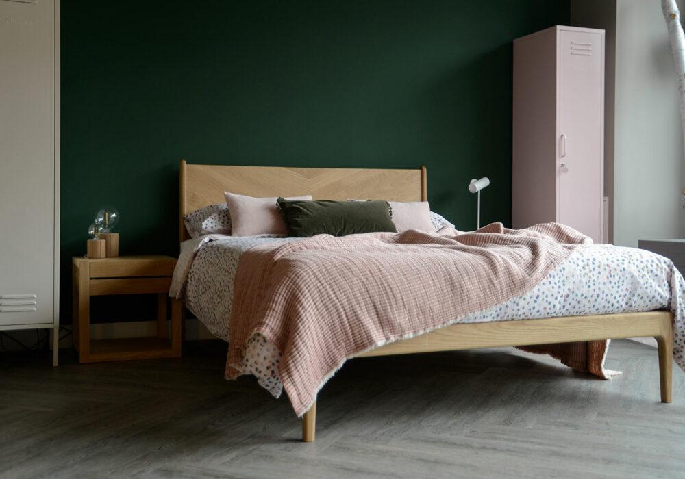 Spring summer bedding, pastel paint brush dots print duvet set shown on our Oak Hoxton Bed