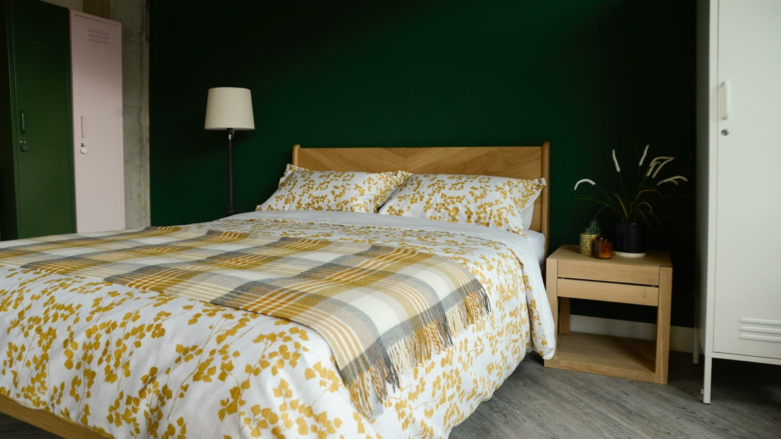 Duvet cover set in white with a mustard yellow leaf print