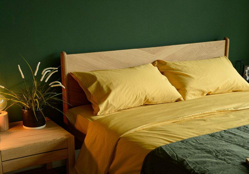 Bamboo fibre and cotton duvet set in mustard yellow