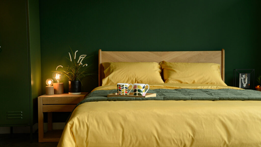 mustard yellow bamboo fibre and cotton mix bedding