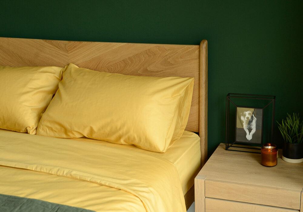 Bamboo fibre bedding in mustard yellow