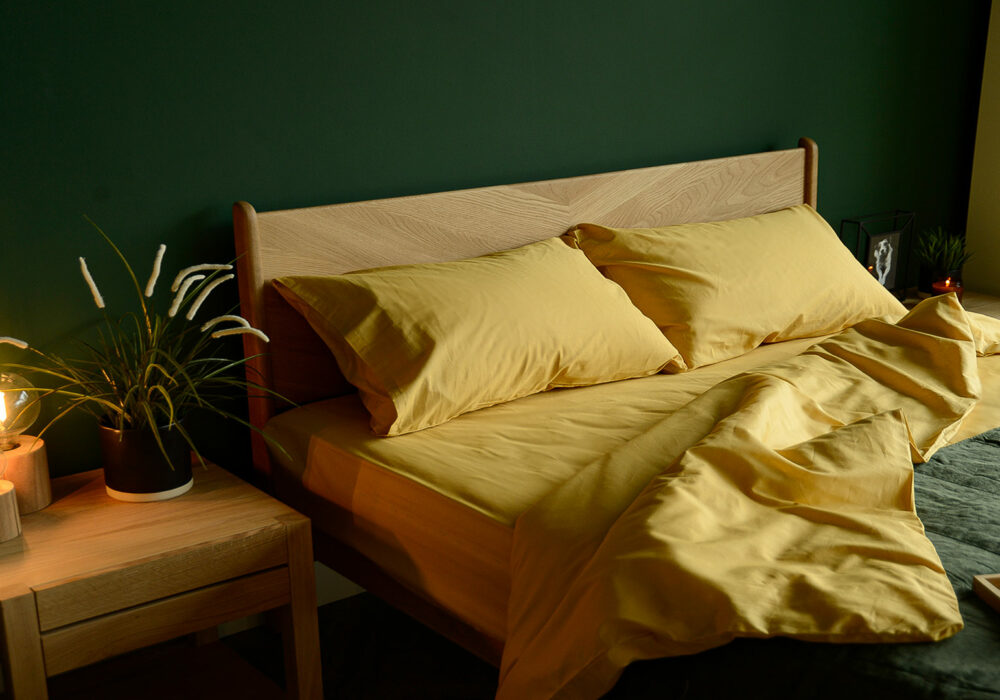 colourful bedding combination yellow ochre duvet set and green accents