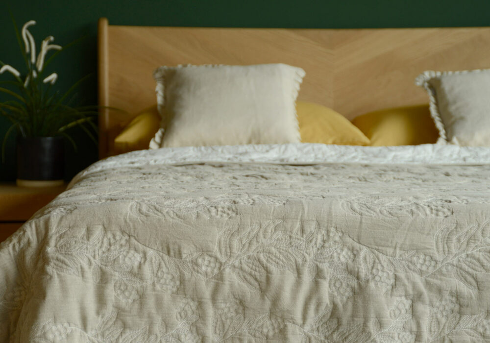 natural sand colour stitched quilted bedspread