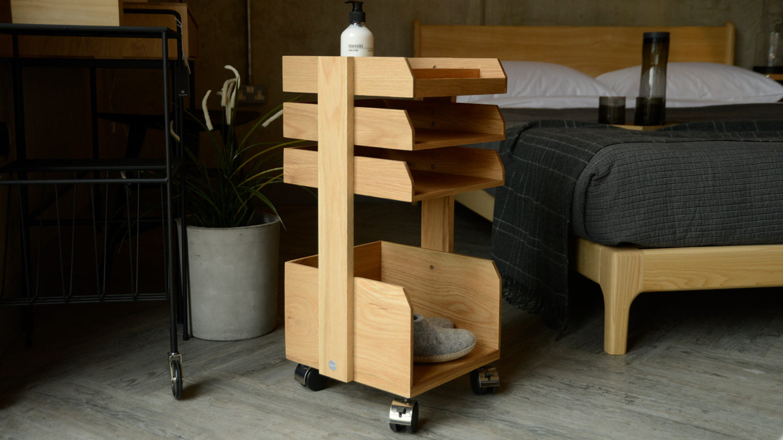 modern wheeled wooden storage trolley