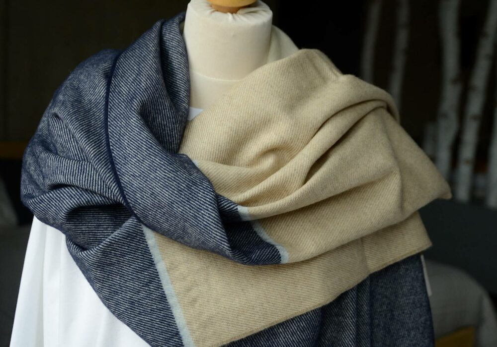 navy and beige pashmina