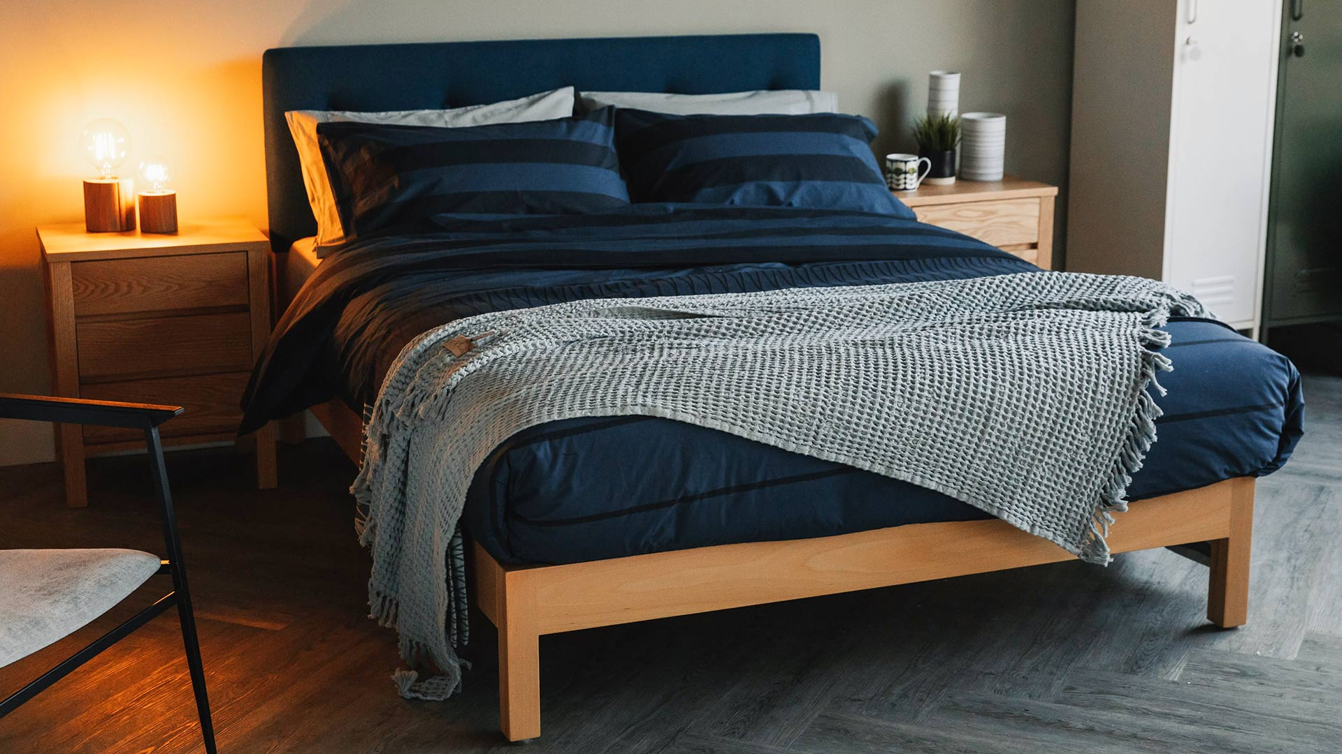 Deep Blue Stripe Duvet Set Cotton Bedding Natural Bed Company