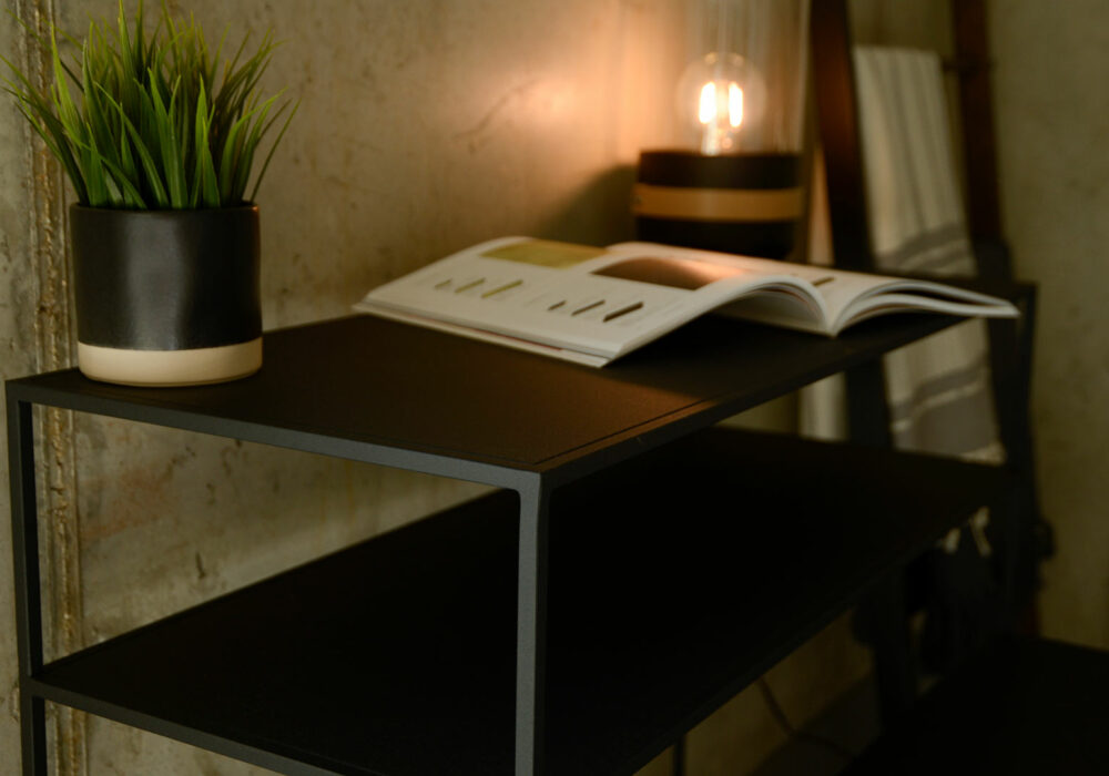 metal console table with shelf in dark slate grey a closer view
