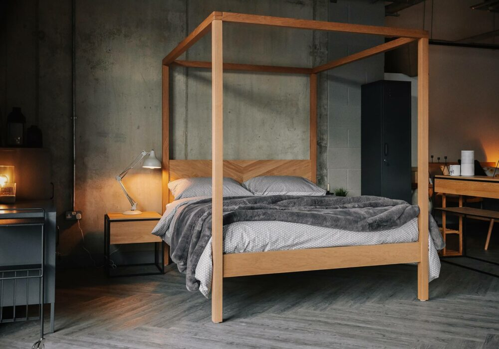 Kelham contemporary 4 Poster bed in solid wood with chevron headboard