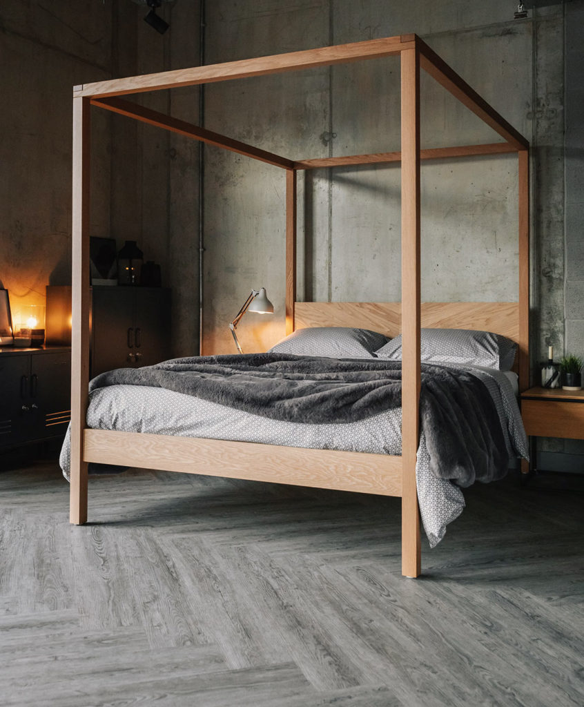 Centrepiece contemporary solid wood Kelham 4 poster bed with chevron headboard, cosy industrial bedroom