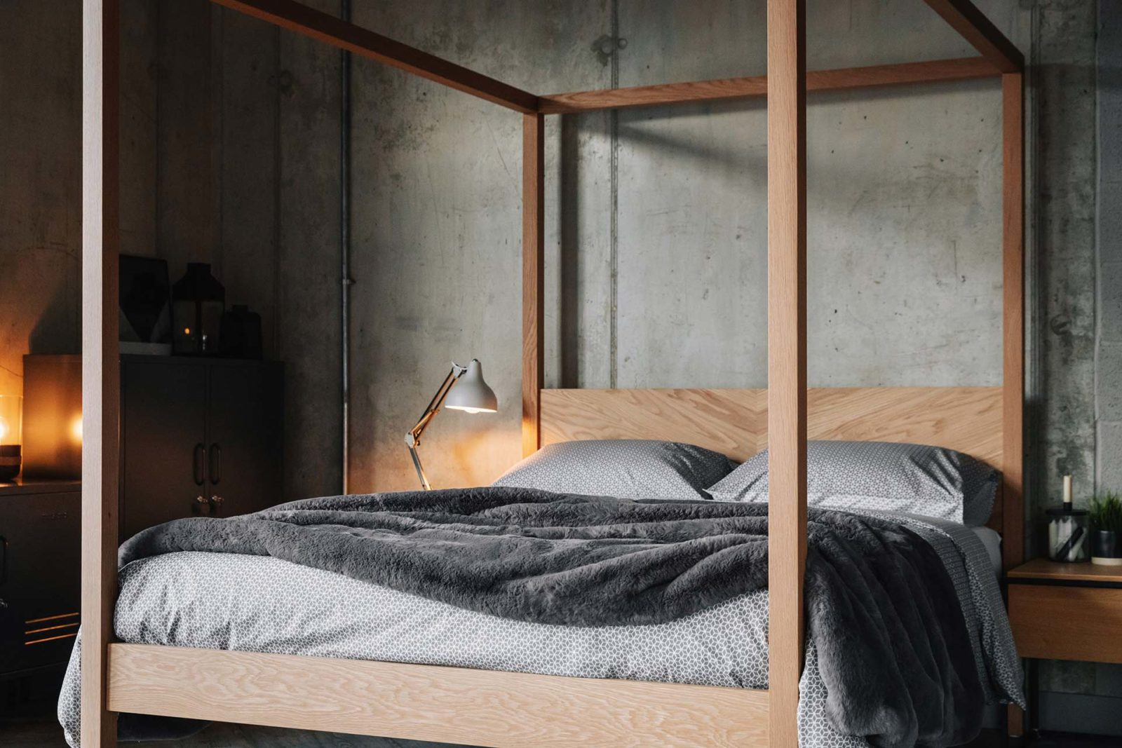 Sashiko reversible bedding - duvet set - grey shown on solid oak, hand made Kelham 4 Poster bed