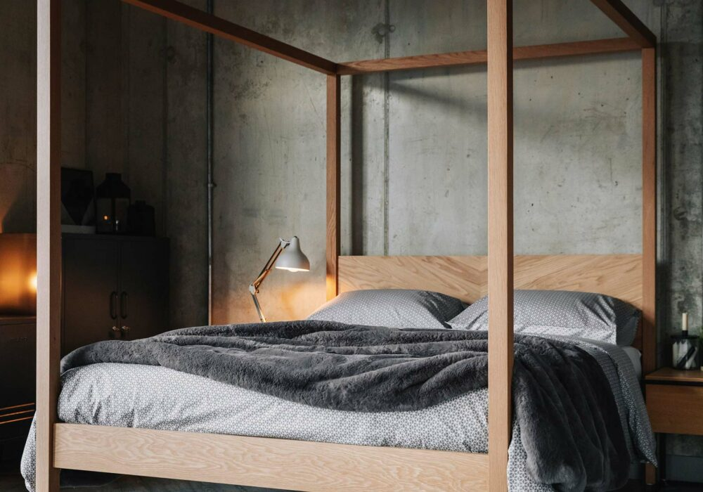 Kelham 4 Poster bed in solid wood, hand made in Britain from a choice of timber and in a range of sizes