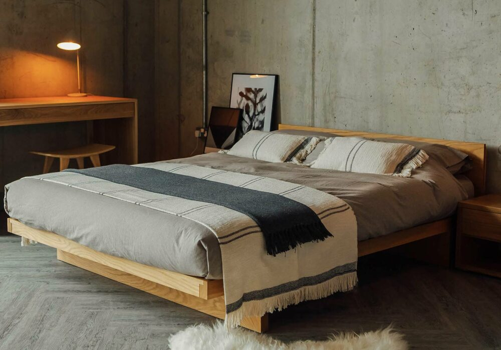 Great for a low ceiling loft space our Kyoto bed is a low solid wood bed and comes with or without a headboard.