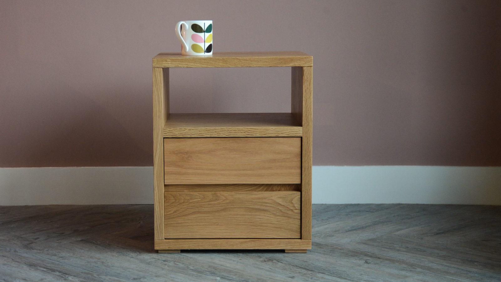 oak 2 drawer shelf table