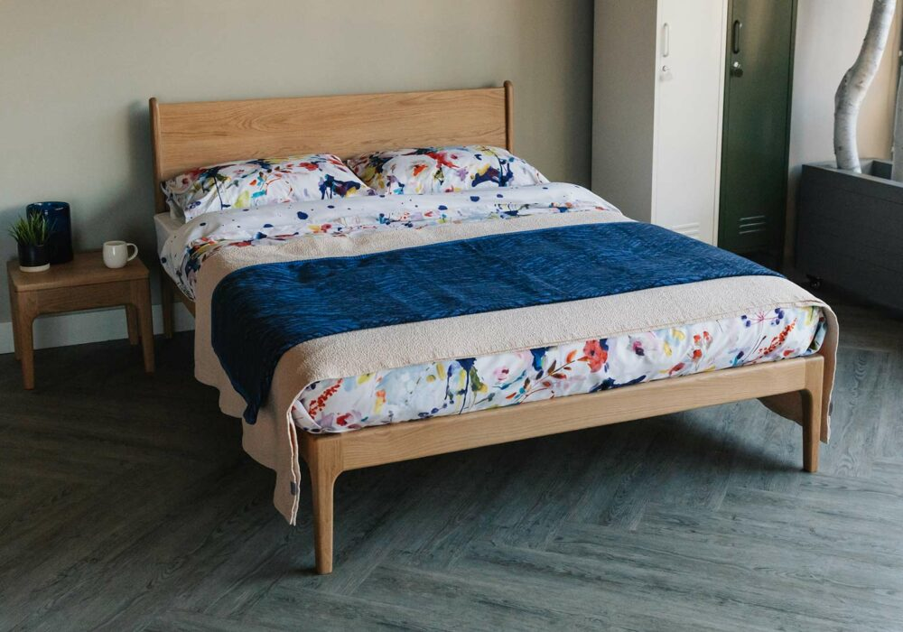 mid-century look bed and side table