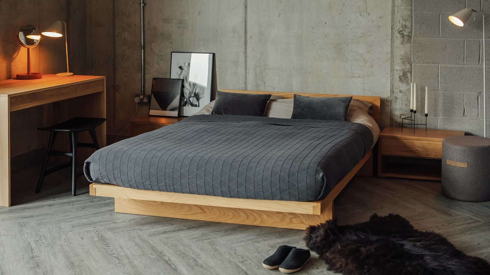 Scandinavian inspired look for our Oak low Kyoto bed, made in UK from sustainably sourced wood.
